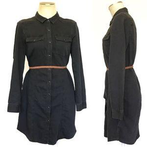 Calvin Klein Black Western Denim Shirt Dress - M